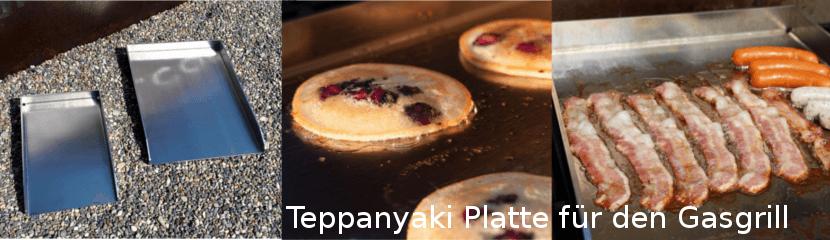 Drei verschiedene Teppanyaki Platten für den Gasgrill, mit verschiedenen Gerichten auf der Grillfläche