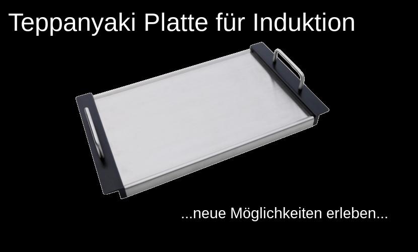 """Schriftzug """"Teppanyaki Platte für Induktion"""" und eine abgebildete Teppanyaki Platte"""