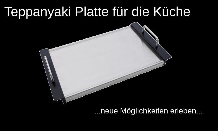 """Schriftzug """"Teppanyaki Platte für die Küche"""" und eine abgebildete Teppanyaki Platte auf schwarzem Hintergrund"""