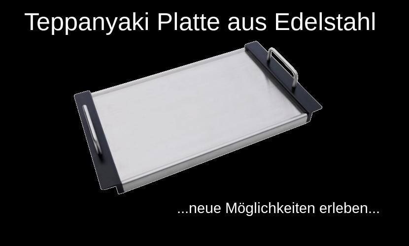 """Schriftzug """"Teppanyaki Platte aus Edelstahl"""" und eine abgebildete Teppanyaki Platte die aus Edelstahl besteht"""