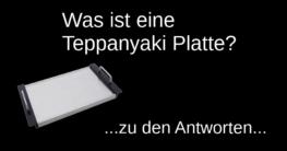 """Schriftzug """"was ist eine teppanyaki platte"""" und eine abgebildete Teppanyaki Platte auf schwarzem Hintergrund"""